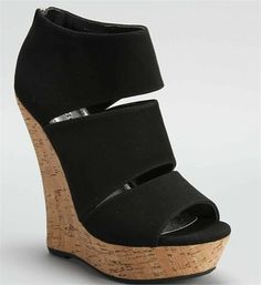 Black Peep Toe Wedge / adorable and only $27.90