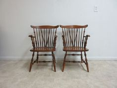 Pair Vintage Maple Windsor Back Dining Room Arm Chairs Set