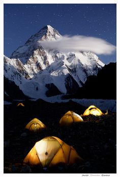 A ful moon night with the second highest mountain of the word, Chogory or... K2.