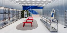 Off-White Flagship Store in Miami | LES FAÇONS White Concrete, Stained Concrete, Off White Store, Stainless Steel Shelving, Miami Store, Virgil Abloh, Ceiling Panels, Corrugated Metal, Museum Of Contemporary Art