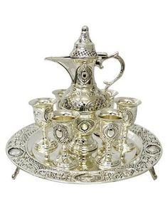 """JOGO DE JARRA COM TAÇAS PARA VINHO - Antique Prestige """"Silver Plated"""""""