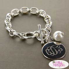 Monogrammed Bracelet with pearl charm...The Pink Monogram