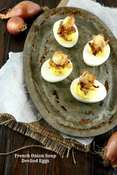 French Onion Soup Deviled Eggs | Friday Night Bites
