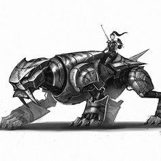 Tonight's robot, no. 15, half way done! #marchofrobots #robot #art #animals #cat #sabertooth #tiger #conceptart #instaart #instagood #illustration #characterdesign #drawing #draw #falconer