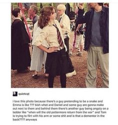Funny picture of the Harry Potter set Harry Potter Puns, Harry Potter Cast, Harry Potter Characters, Harry Potter Universal, Harry Potter World, Harry Potter Imagines, Hermione Granger, Draco Malfoy, Snape And Hermione