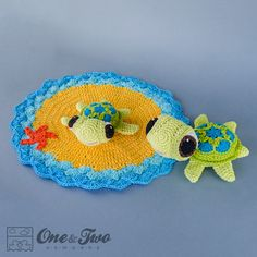 Combo Pack  Bob the Turtle Lovey and Amigurumi by oneandtwocompany