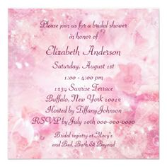 Pink Rose Diamonds Pink Bridal Shower Announcements