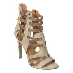 "Nine West.  Caged open toe sandal with bootie-like shape.  Back zipper closure.  Back zipper closure.  Stacked 4 1/4"" heel."