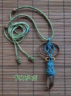 Cosmic teardrop necklace with Smokey Quartz by MahakashiCreations