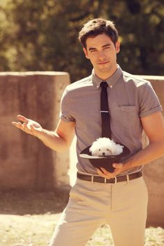 Brant Daugherty and a cute puppy in a hat!