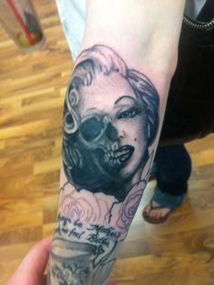 In love with this half n half tattoo. Marilyn Monroe <3 Another tattoo done at Captains Tattoo.