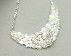 Bridal Statement Necklace VintageInspired Wedding by BrassBoheme, $80.00