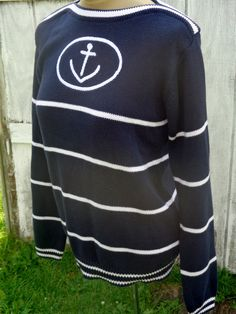 Vintage Navy/Nautical Sweater Anchor 90s/80s. White by BosVintage