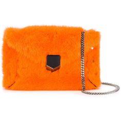 Jimmy Choo 'Lockett' shoulder bag (110.440 RUB) ❤ liked on Polyvore featuring bags, handbags, shoulder bags, leather shoulder bag, jimmy choo handbags, chain strap purse, orange leather handbag and shoulder bag purse