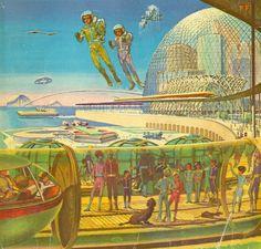 Life in 1999 Retro Future - Retro Futurism - Vintage Sci Fi - Robot - Space Ship - jet pack - Atomic Age Children's Reader's Digest Cover! Cyberpunk, Art Science Fiction, Sci Fi Kunst, Arte Sci Fi, Comics Illustration, Illustrations Vintage, Steampunk, Future Transportation, 70s Sci Fi Art