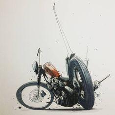 Motorcycle Illustrations by Tomas Pajdlhauser Motorcycle Art, Motorcycle Design, Bike Art, Art Moto, Bike Sketch, Bike Illustration, Rat Fink, Harley, Lowbrow Art