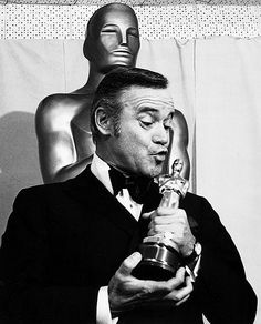 Jack Lemmon with his Academy Award for Save The Tiger, 1974.