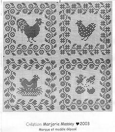 chicken, goose, rooster, turkey, farm chart cross-stitch or filet crochet – BuzzTMZ Filet Crochet, Crochet Motifs, Crochet Diagram, Crochet Chart, Crochet Doilies, Crochet Stitches, Cross Stitch Bird, Cross Stitch Designs, Cross Stitching