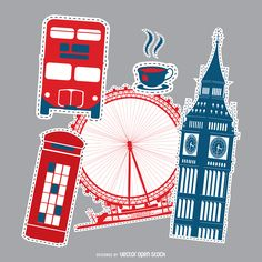 Set of patches designs featuring classic London elements, such as the London…
