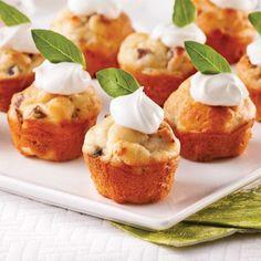 Mini-cakes salés pancetta et champignons - 5 ingredients 15 minutes Antipasto, Mini Cake Sale, Kids Birthday Cupcakes, Mini Pains, Best Cake Mix, Mini Quiches, Battered Fish, Blue Cakes, New Cake