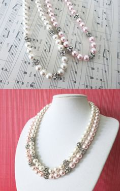 White Pearl Necklace and Pink Pearl Necklace