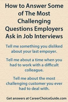 Answering Difficult Interview Questions Answers to the most difficult interview questions employers ask. Difficult Interview Questions, Interview Skills, Job Interview Tips, This Or That Questions, Job Interviews, Management Interview Questions, Behavioral Interview Questions, Interview Questions And Answers, Interview Preparation
