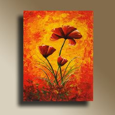 Red Poppies Flowers Print of Original Acrylic Painting Home Decor Decorative Art V0010