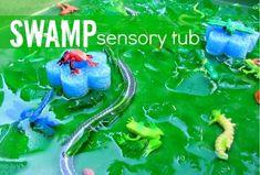 Swamp sensory tub for kids sensory-bins Sensory Tubs, Sensory Activities, Sensory Play, Learning Activities, Preschool Activities, Kids Learning, Sensory Rooms, Preschool Projects, Kindergarten Crafts