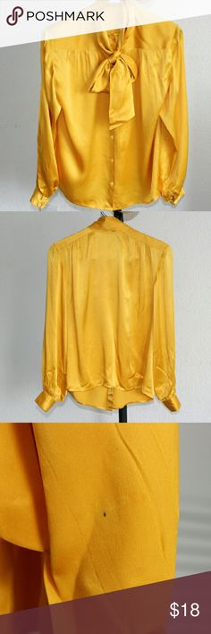 Lillie Rubin Vintage Womens Mustard Gold Blouse Lillie Rubin Vintage Women's Blouse Top Mustard Gold Necktie. That Is 100% Silk Size 6 Made In Hong Kong. Top Does Feature Miner Small Stains Which Is Photographed In The Listing Photos. Shirt Must Be Dry Cleaned Only. Lillie Rubin Tops Blouses