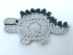 Crochet appliques Crochet dinosaur 1 grey applique dinosaur.