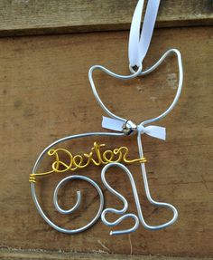 Personalized Cat Pet Ornament - Handcrafted Wire Cat with Pet's Name - Cat Christmas Gift, Pet Lover Gift, Pet Memorial, Pet Gift