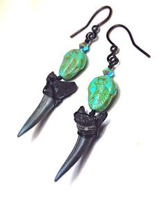 Wicked Charleston Sharks Tooth and Trilobite Earrings - Fossil Earrings - Turquoise and Black - Swarovski Crystals