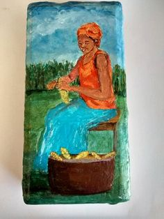 Image Woman Shucking Corn Acrylic Painting On by ArtistTooStudios