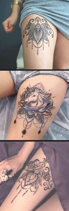 Boho Mandala Thigh Tattoo Ideas - Tribal Lotus Leg Tatouage - Black Henna Ideas Del Tatuaje - www.MyBodiArt.com