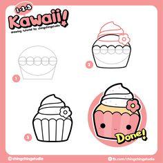 Kawaii Cupcakes drawing tutorial from #chingchingstudio