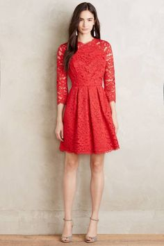 Shoshanna Vermillion Lace Dress: http://www.stylemepretty.com/2016/01/27/25-valentines-day-dresses-that-will-make-his-heart-skip-a-beat/