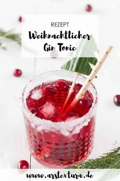 Christmas Cranberry Gin Tonic - Aperitif for Christmas .- Weihnachtlicher Cranberry Gin Tonic – Aperitif zum Weihnachtsmenü Cranberry Gin Tonic – a great drink for Christmas that makes a wonderful aperitif for a feast Summer Drinks, Cocktail Drinks, Aperitif Drinks, Drink Menu, Food And Drink, Weihnachtlicher Cocktail, Christmas Gin, Christmas Recipes, Christmas Cocktails