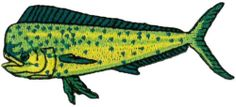 """Fishing - LARGE 5 1/8""""W (13cm) Dorado Fish - Embroidered Iron On Patch"""
