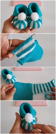 Baby Knitting Patterns Easy To Make Baby Booties With Pom Pom… Baby Knitting Patterns, Knitting For Kids, Easy Knitting, Crochet For Kids, Knitting Socks, Baby Patterns, Easy Crochet, Crochet Patterns, Crochet Tutorials