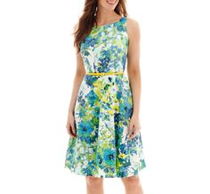 Black Label by Evan-Picone Sleeveless Belted Floral Fit-and-Flare Dress