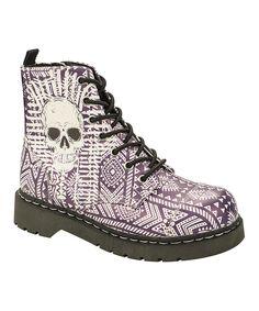 Look at this #zulilyfind! T.U.K. Pink Skull Lace-Up Leather Combat Boot by T.U.K. #zulilyfinds