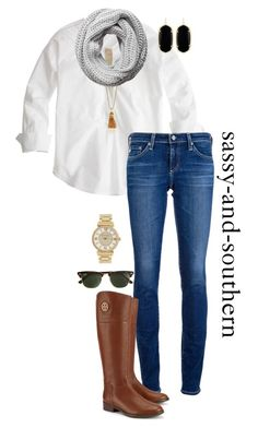 """""""#sassysouthernfall """" by sassy-and-southern ❤ liked on Polyvore featuring J.Crew, Kenneth Jay Lane, Pieces, Kendra Scott, AG Adriano Goldschmied, Tory Burch, Michael Kors and sassysouthernfall"""