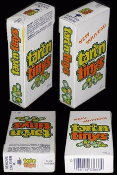 Tart N Tinys Candy. The original ones were the best - tiny pastel cylinders that tasted kind of like SweeTarts. Our grocery store sold them in the bulk candy bins, and I'd eat them 'til I'd get a stomachache. The later version of the candy had a shiny candy coating (like Sprees) but they weren't as tasty, and you couldn't stack them. Retro Candy, Vintage Candy, Vintage Toys, 1980s Candy, Vintage Stuff, School Memories, Great Memories, Back In My Day, Childhood Days
