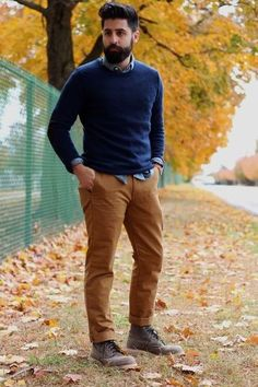 Men's Navy Crew-neck Sweater, Light Blue Chambray Long Sleeve Shirt, Tobacco Chinos, Brown Leather Boots