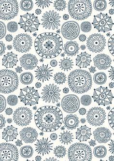 Winter pattern of snowflakes by Nata Dvoretskaya, via Behance