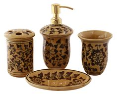 bulk handpainted colorful bathroom set of 5 accessories in brown color ceramic soap dish tumbler toothbrush holder a liquid dispenser at unbeatable