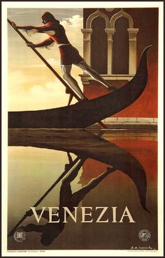 Venice Gondola Travel Poster Print 1920s by BloominLuvly on Etsy