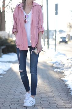 spring outfit: pink utility jacket