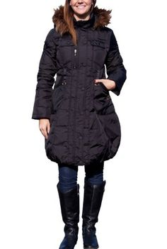 Jessie G. Women`s Hooded Quilted Pattern Detail Down Coat with Faux Raccoon Fur Trim - Black Small