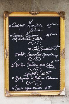 Wall art cafe menu boards 56 ideas for 2019 French Cafe Menu, French Bistro Decor, French Decor, French Bistro Kitchen, French Coffee Shop, Cafe Menu Boards, Chalkboard Designs, Menu Chalkboard, Outdoor Chalkboard